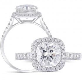 Doveggs moissanit 14k white gold 2 carat cathedral set cushion moissanite engagement ring