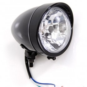 Bobber Gloss Black Headlight with Visor Light Lights For Harley-Davidson Motorcycle