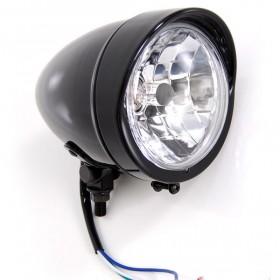 Bobber Gloss Black Headlight with Visor Light Lights For Harley-Davidson Motorcycle