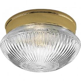 One Light Polished Brass Clear Prismatic Glass Mushroom Flush Mount